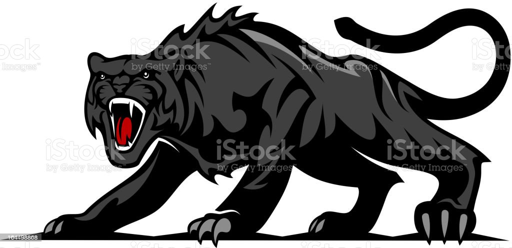 Danger black panther vector art illustration