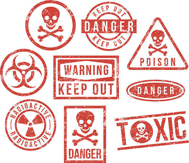 Danger, Caution, Warning - rubber stamps vector art illustration