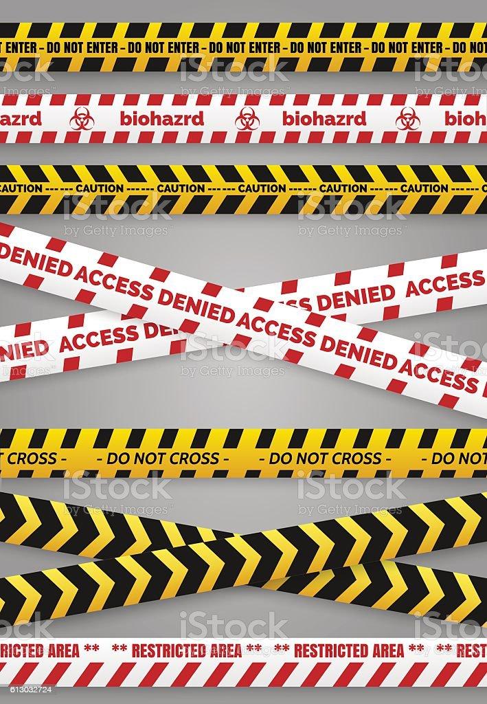 Danger construction tapes vector art illustration