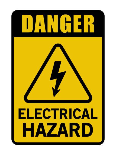 Danger Electrical Hazard Triangle Sign Danger Electrical Hazard Triangle   high voltage sign stock illustrations