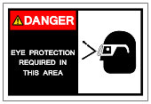 Danger Eye Protection Required In this Area Symbol Sign,Vector Illustration, Isolated On White Background Label. EPS10