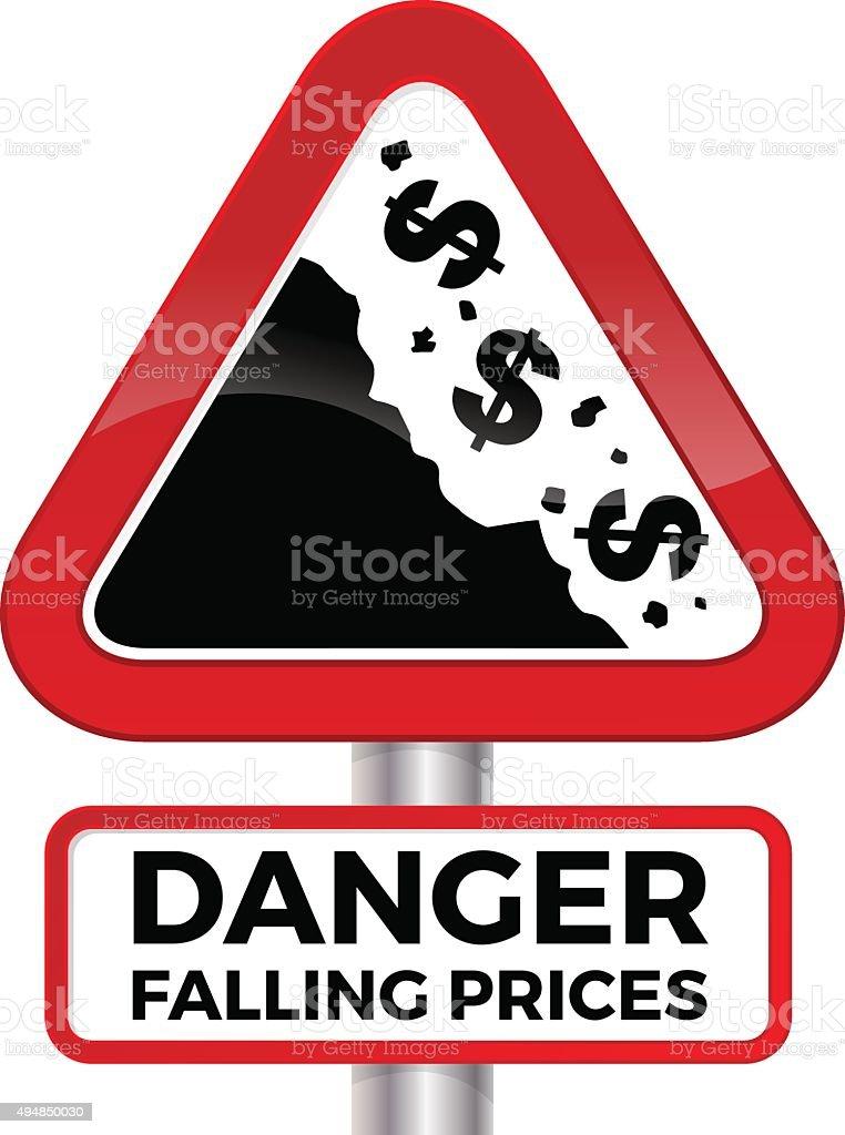 Danger Falling Prices Dollar Road Sign. vector art illustration