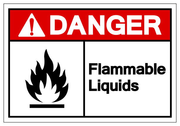 ilustrações de stock, clip art, desenhos animados e ícones de danger flammable liquids symbol sign ,vector illustration, isolate on white background label .eps10 - inflamável