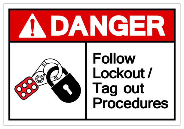 Danger Follow Lockout/Tag out Procedures Symbol Sign ,Vector Illustration, Isolate On White Background Label .EPS10 Danger Follow Lockout/Tag out Procedures Symbol Sign ,Vector Illustration, Isolate On White Background Label .EPS10 lockout stock illustrations