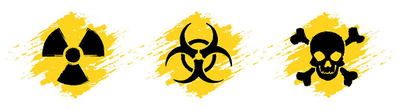 Danger grunge vector signs. Radiation sign, Biohazard sign, Toxic sign, Poison sign.