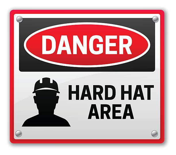 Danger Hard Hat Area Sign Danger hard hat area construction warning sign. EPS 10 file. Transparency effects used on highlight elements. road warning sign stock illustrations