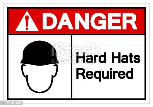 Danger Hard Hats Required Symbol Sign, Vector Illustration, Isolate On White Background Label. EPS10