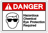 Danger Hazardous Chemical Eye Protection Required Symbol Sign ,Vector Illustration, Isolate On White Background Label. EPS10