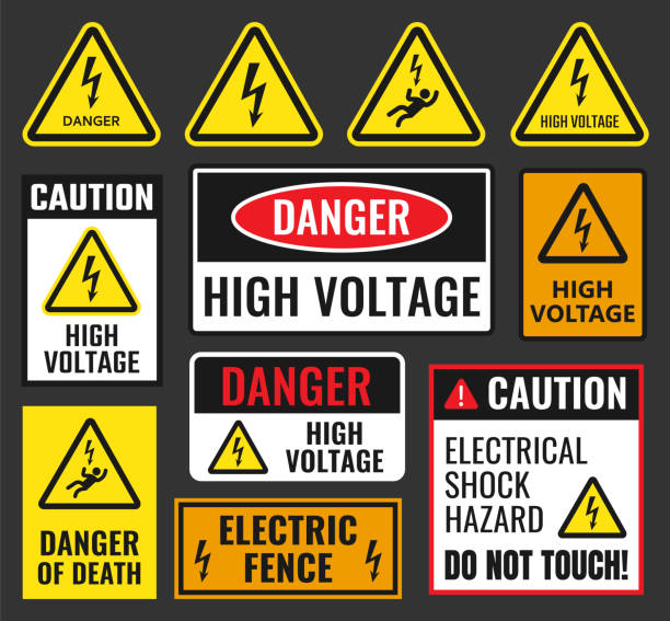 niebezpieczne znaki wysokiego napięcia - elektryczność stock illustrations