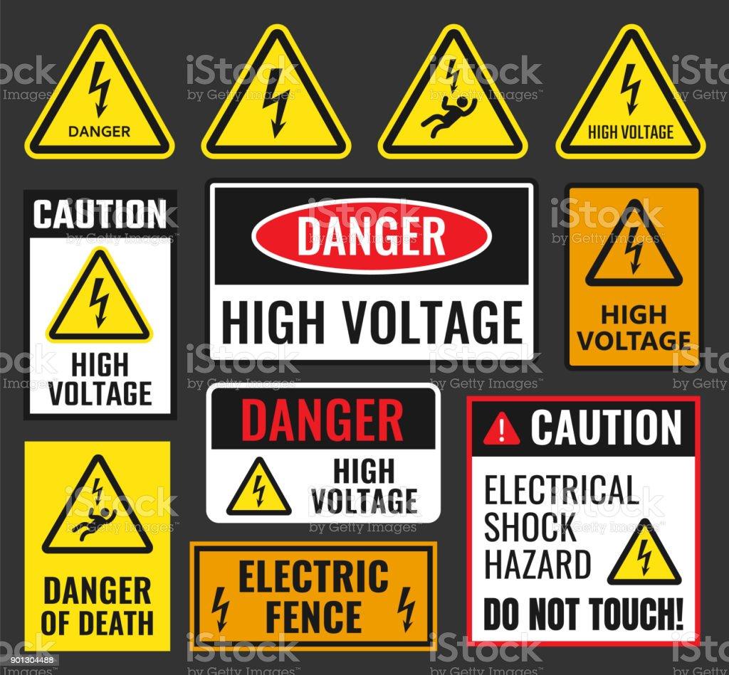 danger high voltage signs vector art illustration