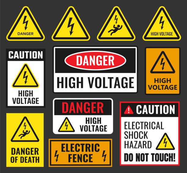danger high voltage signs danger signs set, high voltage labels, vector illustration shock stock illustrations