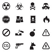 Danger Icons. Black Flat Design. Vector Illustration.