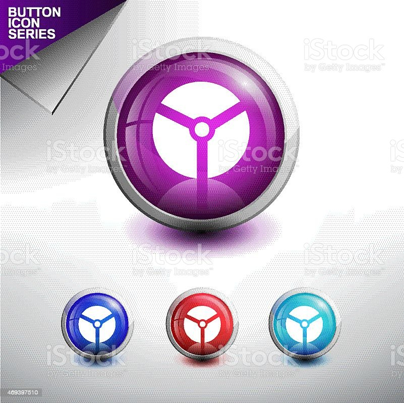 Danger Nuclear Icon Glossy Button Icon Set Vector Illustration Stock