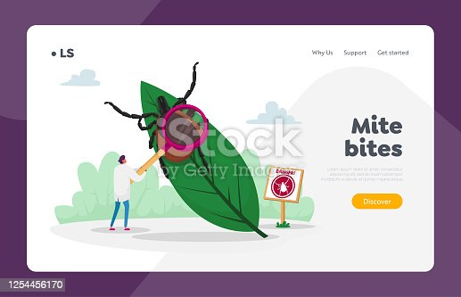 Danger of Bite with Tick in Forest or Park Landing Page Template. Doctor Character with Magnifying Glass Stand at Huge Leaf with Tick and Warning Sign with Mite Image. Cartoon Vector Illustration