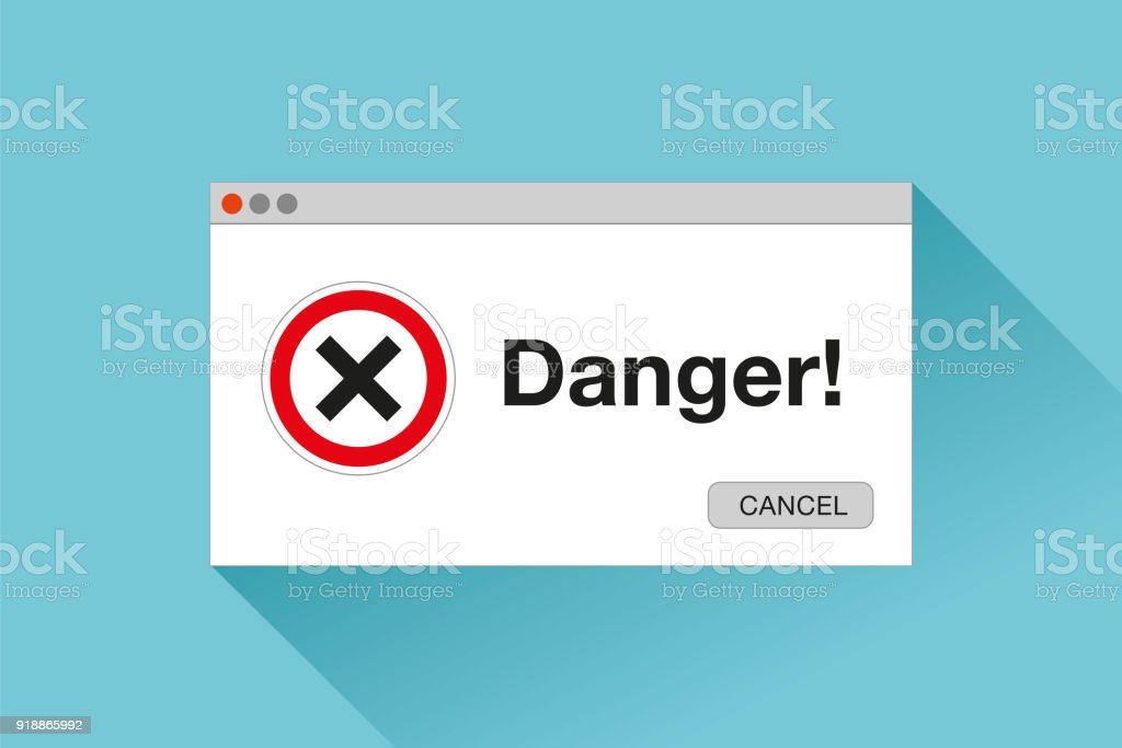 Danger page. Red cross. Error window in flat style, stop signs, vector design object for you projects