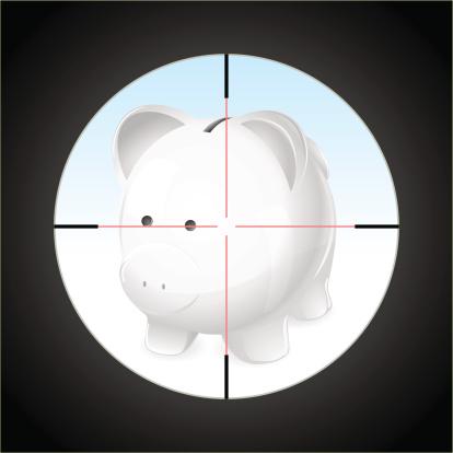 Danger! Piggy bank under a sniper scope