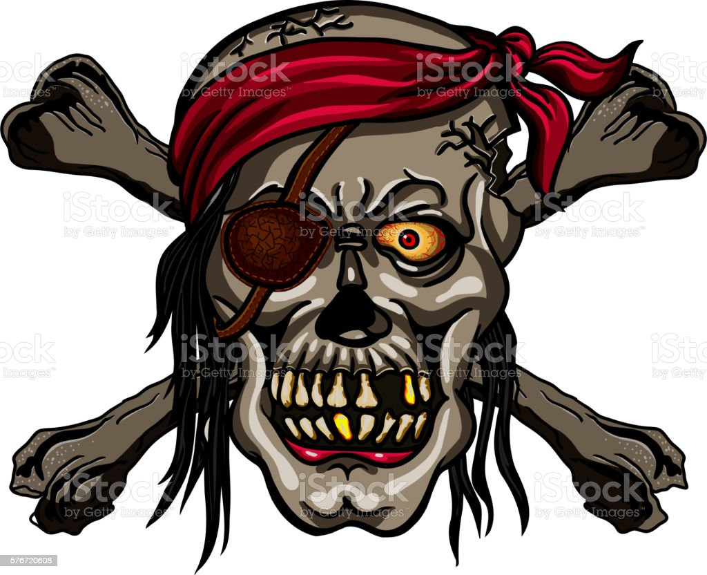 danger pirate skull in red bandanna and crossbones stock