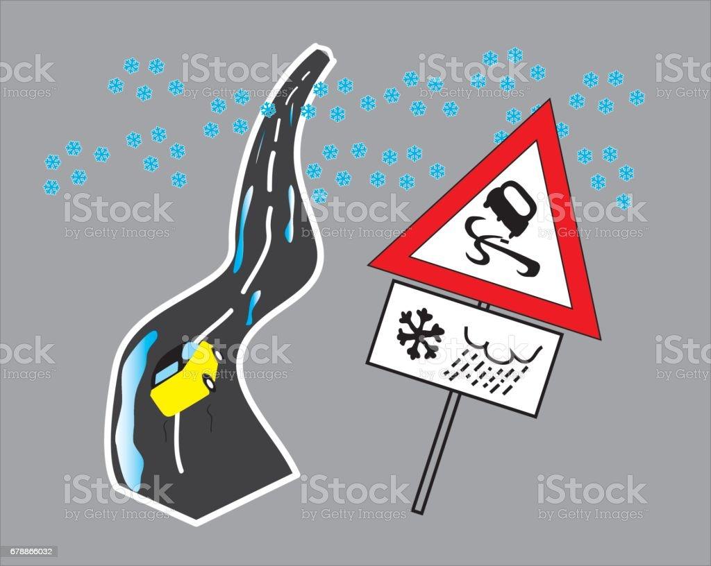 Danger road at winter danger road at winter – cliparts vectoriels et plus d'images de accident de la route libre de droits