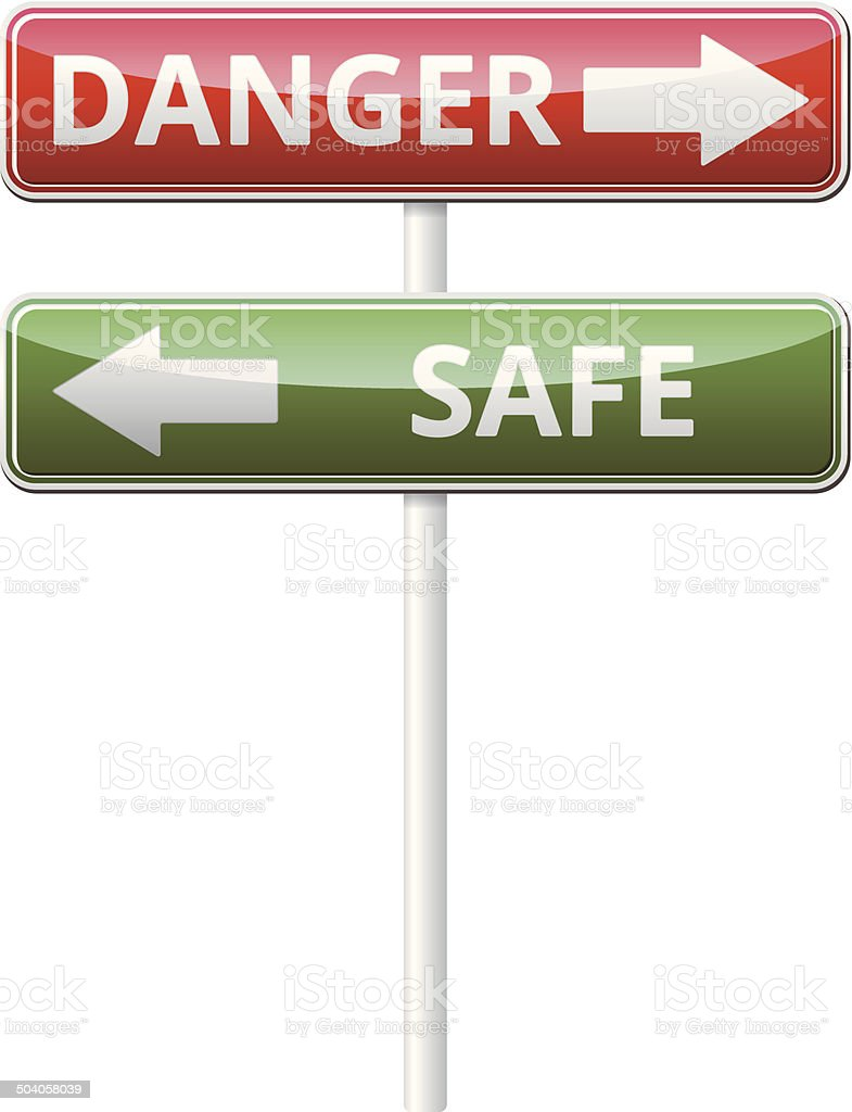 Danger Safe traffic sign with reflection isolated on white backg royalty-free danger safe traffic sign with reflection isolated on white backg stock vector art & more images of comparison