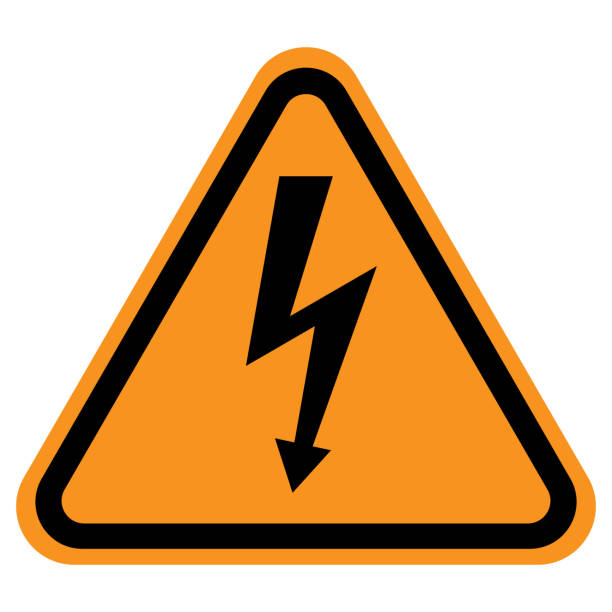 HIGH VOLTAGE  danger sign in yellow triangle. Vector icon HIGH VOLTAGE  danger sign in yellow triangle. Vector icon. high voltage sign stock illustrations