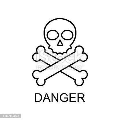 danger sign outline icon. Element of data protection icon with name for mobile concept and web apps. Thin line danger sign icon can be used for web and mobile on white background