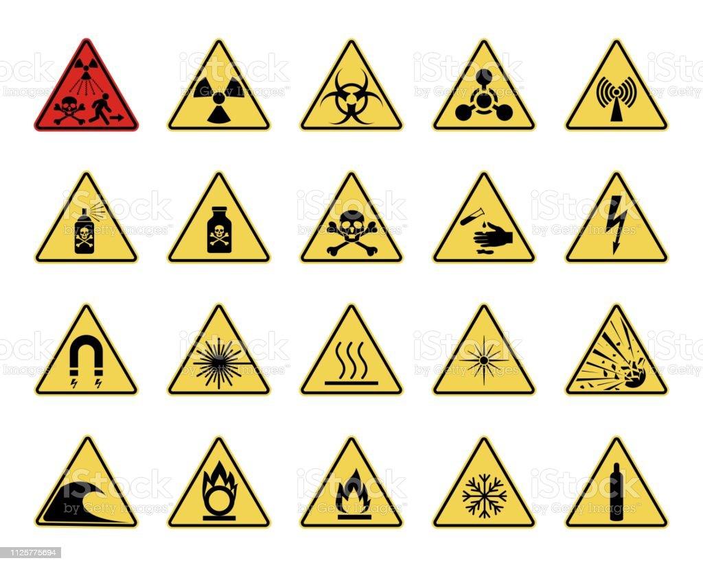Symbol Für Gefahr Reihe Von Dreieckigen Warnzeichen Gefahr Stock ...