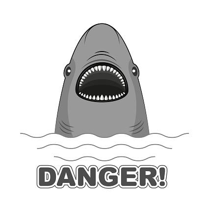 Danger sign shark attack. Poster for t-shirts.