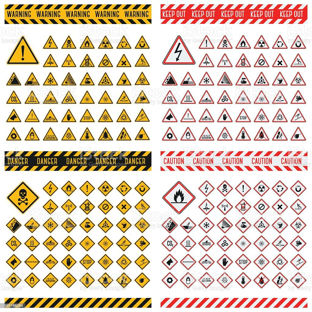 Danger sign vector collection vector art illustration