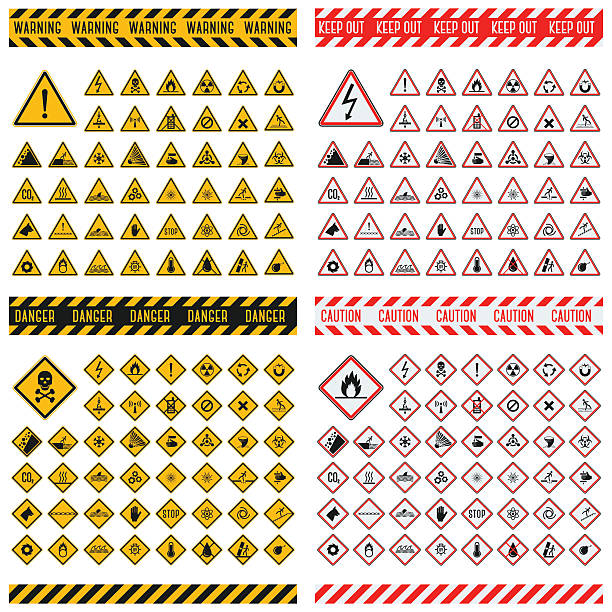 Danger sign vector collection Triangular warning hazard symbols. Big set danger sign vector illustrator. Danger sign safety warning collection and risk caution stop danger sign. Security toxic yellow triangle sign. road warning sign stock illustrations