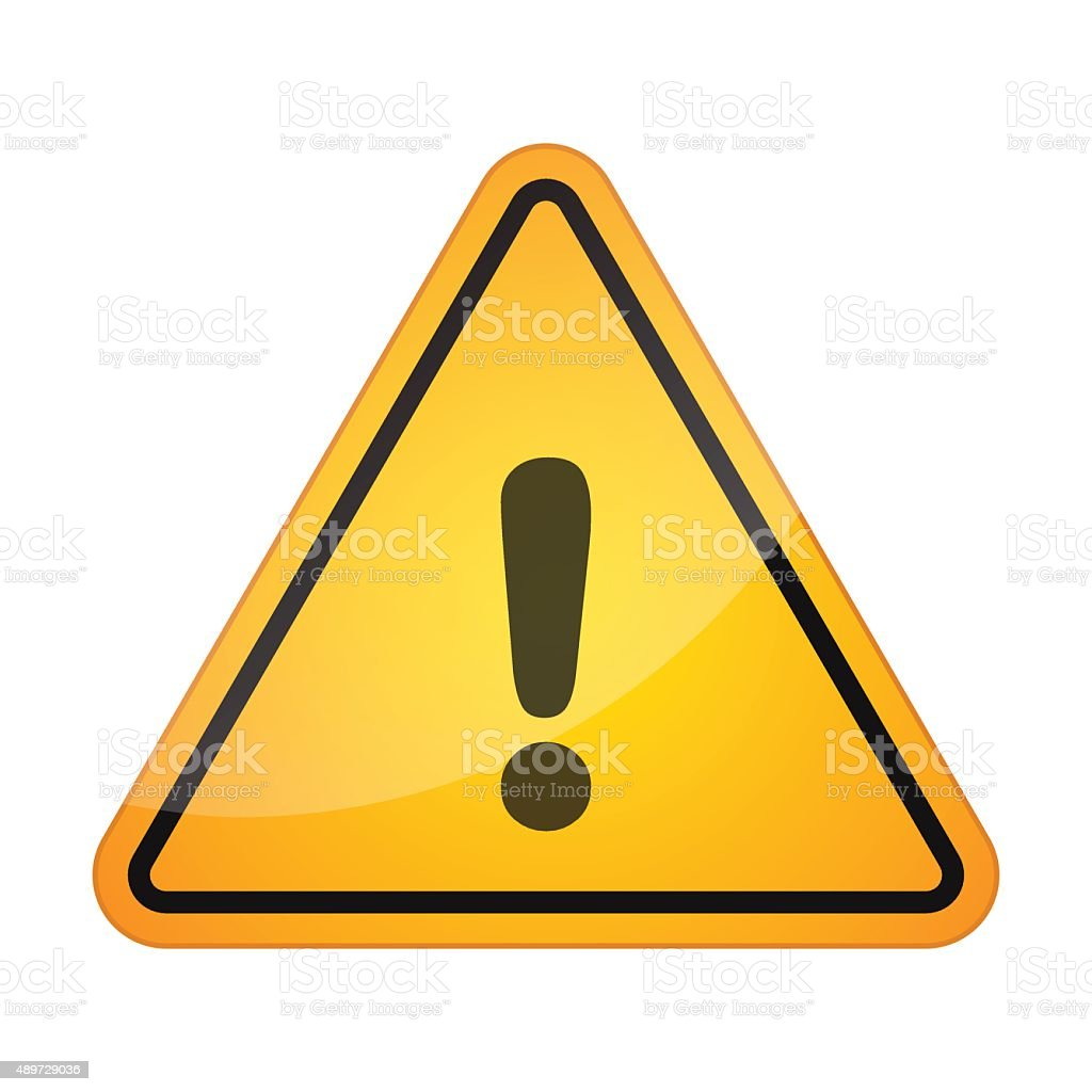 Danger signal icon with an exclamation sign vector art illustration