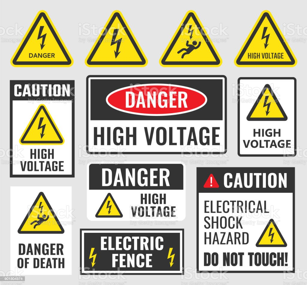 Danger Signs High Voltage Labels Stock Vector Art & More Images of ...