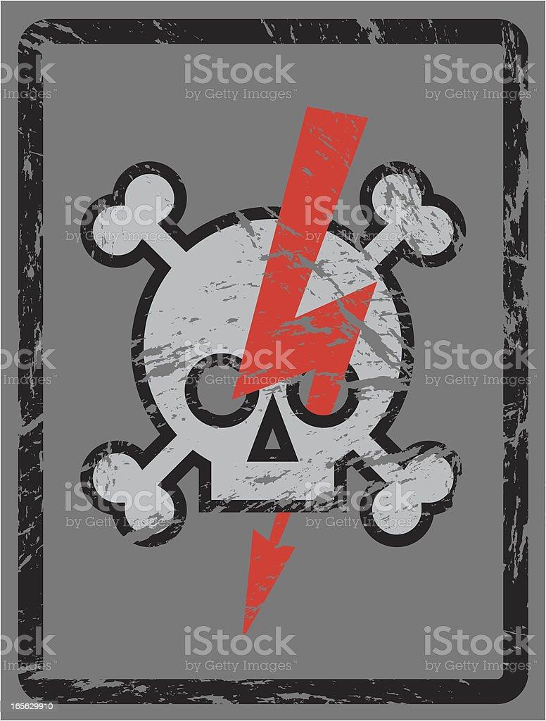 Danger! Skull, Bones and Lightning Symbol royalty-free stock vector art