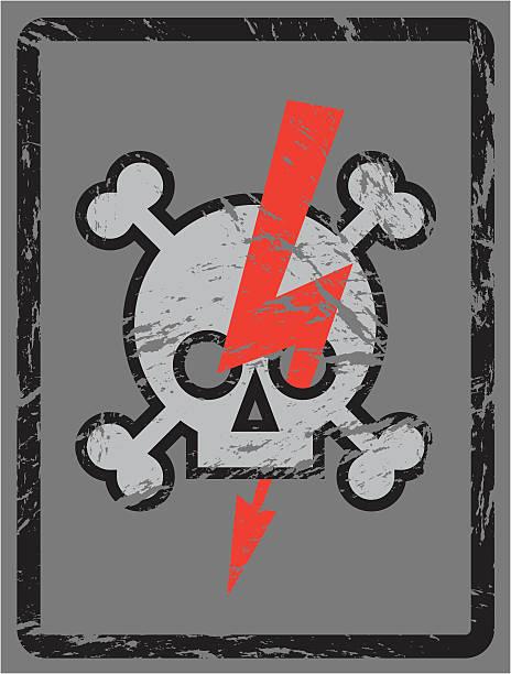 Danger! Skull, Bones and Lightning Symbol vector art illustration