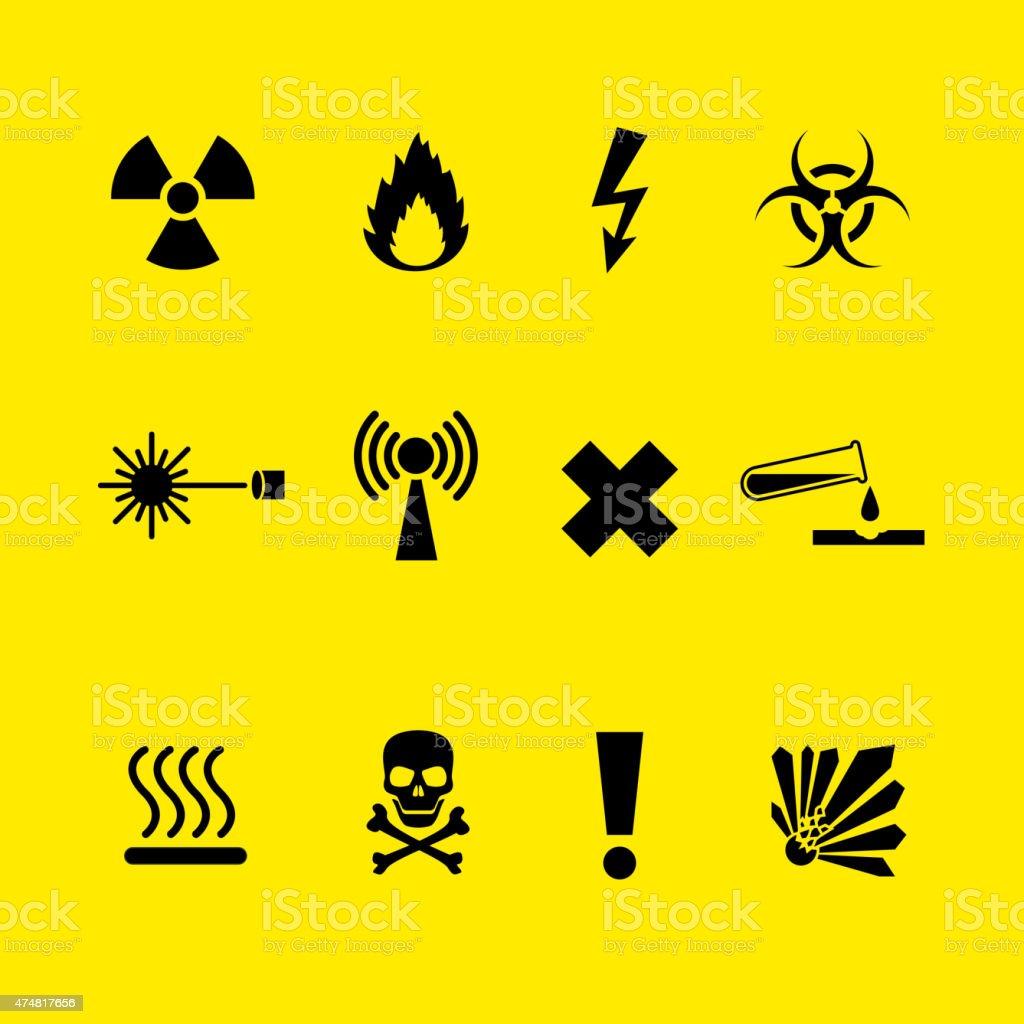 Danger symbols vector art illustration