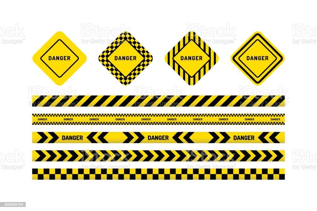 danger tapes, danger sign vector art illustration