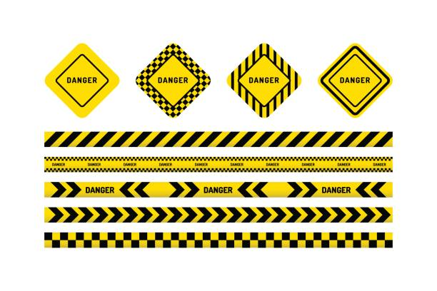 danger tapes, danger sign Yellow with black line and danger tapes, danger sign. Vector illustration isolated on white background. tape stock illustrations