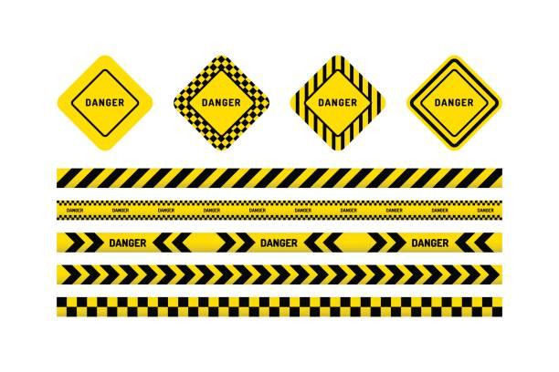 ilustraciones, imágenes clip art, dibujos animados e iconos de stock de cintas de peligro, señal de peligro - tape