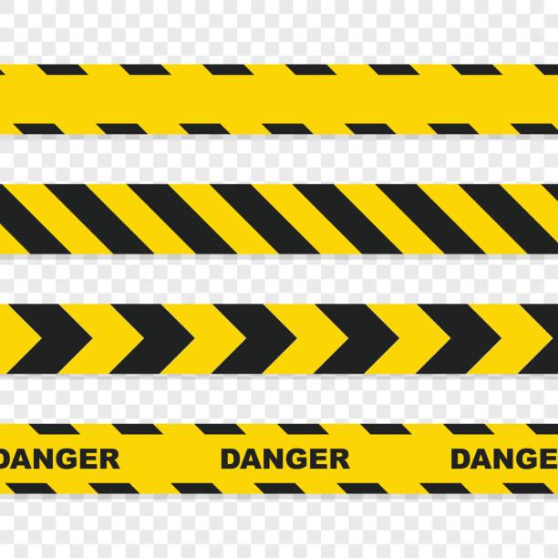 Danger tapes set on transparent background vector art illustration