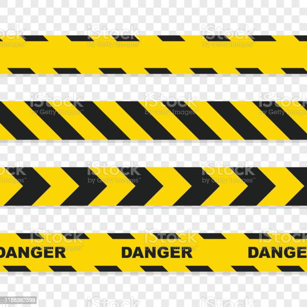 Danger Tapes Set On Transparent Background - Arte vetorial de stock e mais imagens de Acessibilidade