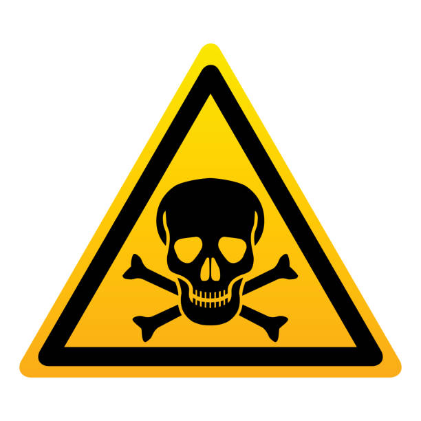 Danger Icon danger. Isolated yellow triangle sign skull with bones on white background. Vector illustration. poisonous stock illustrations