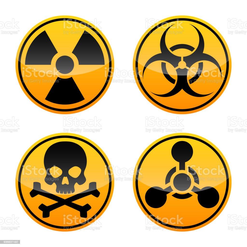 Danger vector sign set. Radiation sign, Biohazard sign, Toxic sign, Chemical Weapons Sign. vector art illustration