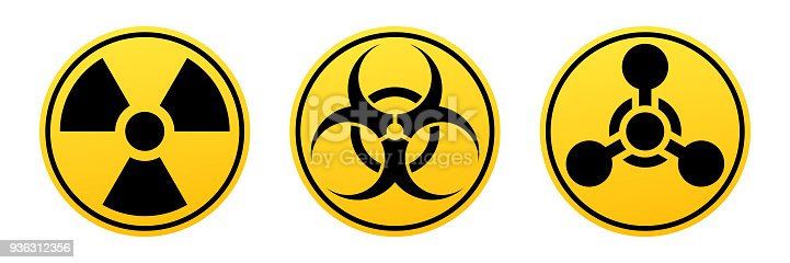 Danger vector signs. Radiation sign, Biohazard sign, Chemical Weapons Sign. Warning signs