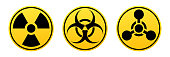 Danger vector signs. Radiation sign, Biohazard sign, Chemical Weapons Sign.