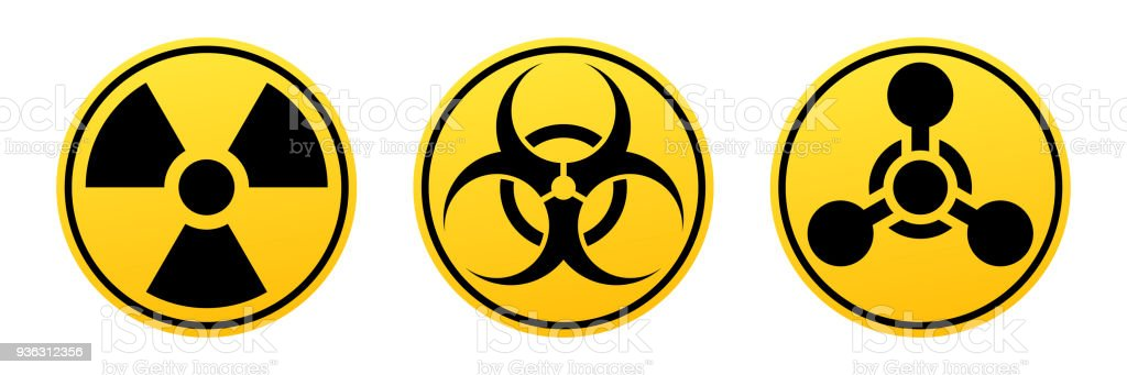 Danger vector signs. Radiation sign, Biohazard sign, Chemical Weapons Sign. vector art illustration