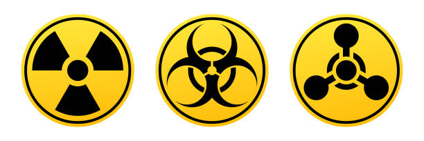 Danger vector signs. Radiation sign, Biohazard sign, Chemical Weapons Sign. Danger vector signs. Radiation sign, Biohazard sign, Chemical Weapons Sign. Warning signs biohazard symbol stock illustrations