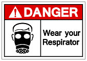 Danger Wear Your Respirator Symbol Sign, Vector Illustration, Isolate On White Background Label. EPS10