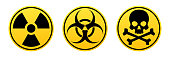 Danger yellow vector signs. Radiation sign, Biohazard sign, Toxic sign.