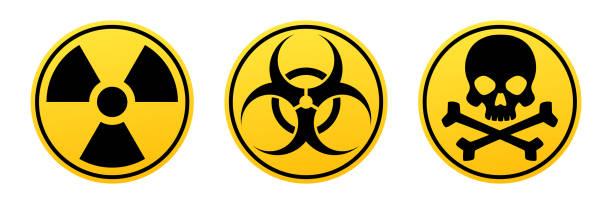 위험 노란색 벡터 서명 한다입니다. 방사선 기호, 생물 학적 기호, 독성 기호입니다. - 독성 물질 stock illustrations