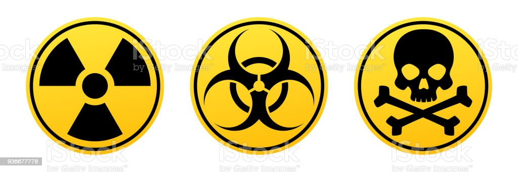 Danger yellow vector signs. Radiation sign, Biohazard sign, Toxic sign. vector art illustration