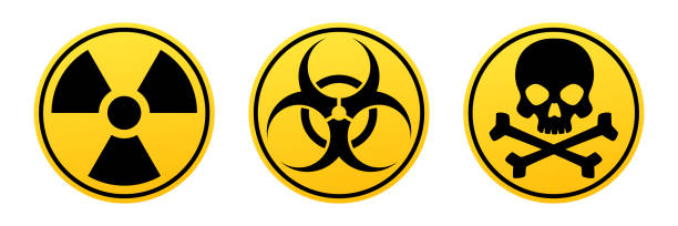 Danger yellow vector signs. Radiation sign, Biohazard sign, Toxic sign. Danger yellow vector signs. Radiation sign, Biohazard sign, Toxic sign. Warning signs hazardous chemicals stock illustrations